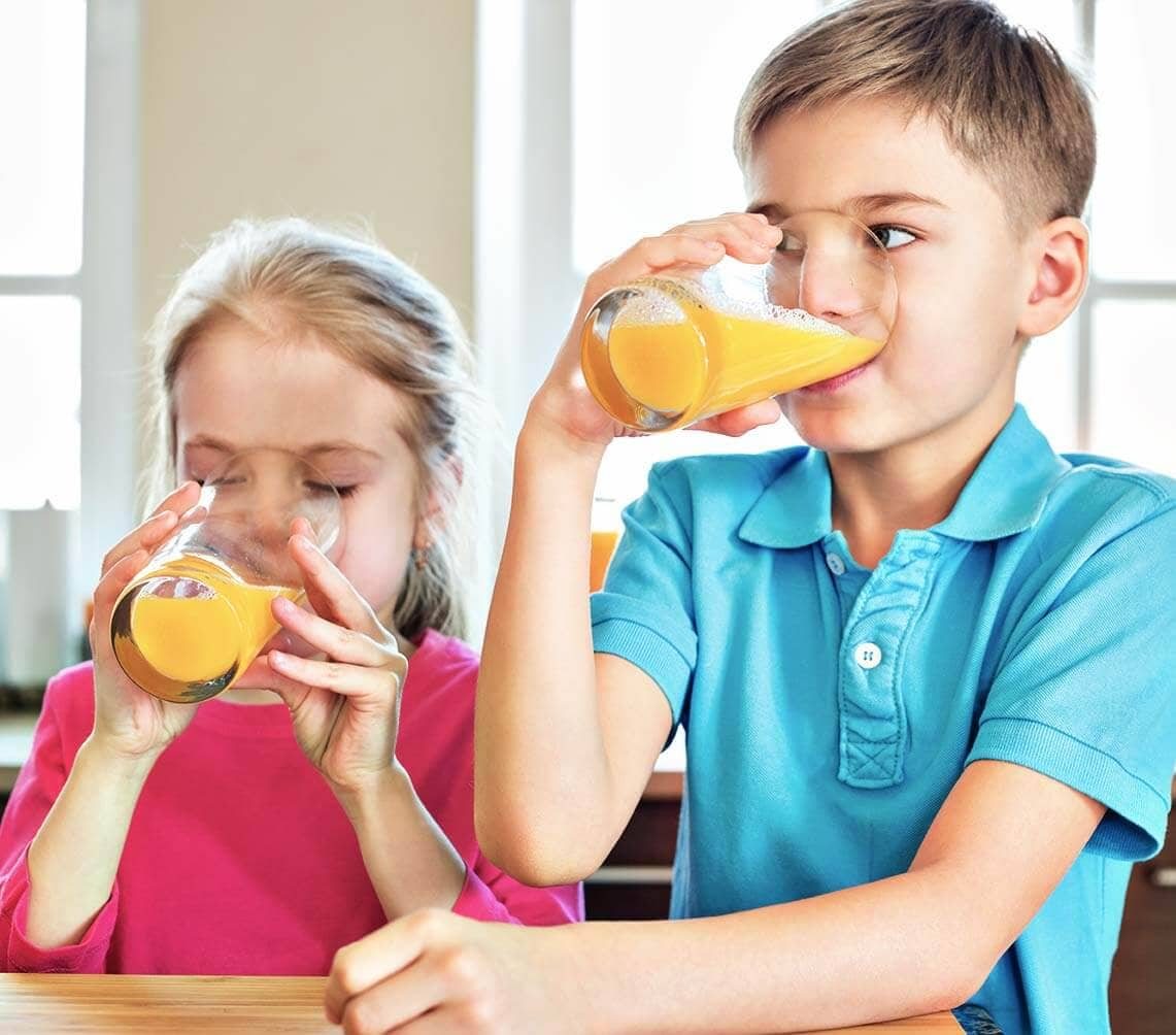 Children Drinking Juice