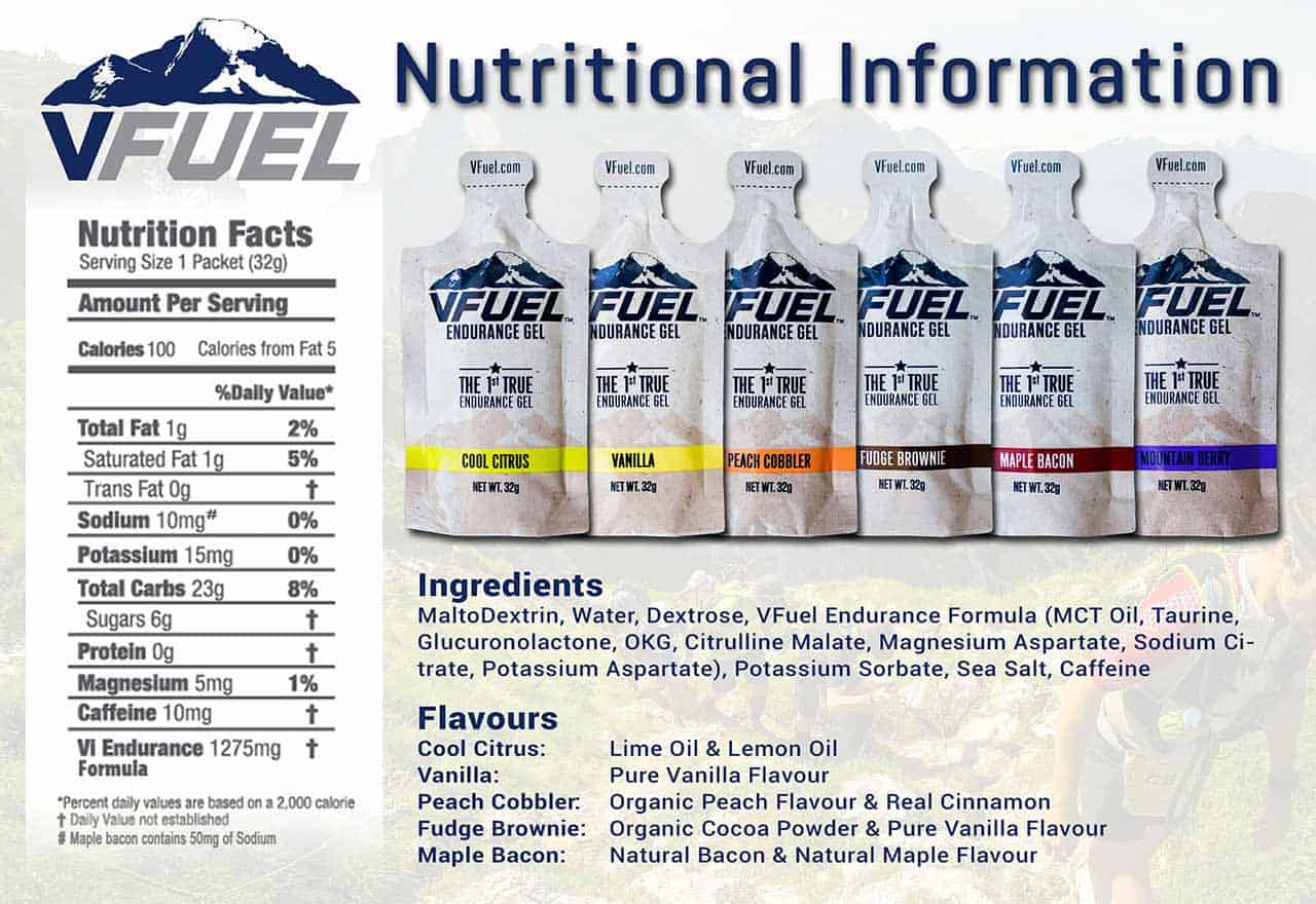 VFuel Gel Australia Nutritional Information